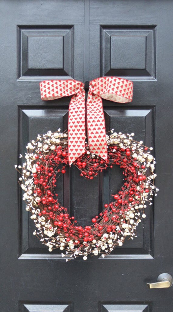 Berry Heart Wreath- Valentine's Day Wreath- Heart Wreath Love Decor- Valentines Day Gift- I love you Decor- Valentines Day- Wedding Day