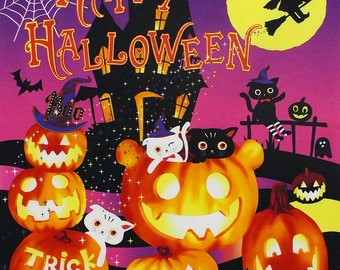Halloween Fabric Panel by Lecien, Happy Halloween Children's Cotton Fabric 24 x 24