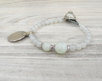 Gypsy Mala Bracelet -Jade Bracelet, Tribal Metalwork, Gemstone Mala, Charm Bracelet, Handmade
