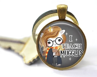 Quote, Charm Keychain, Gifts for Teachers, Geeky Gift, Hogwarts, Gifts for Book Lovers, Harry Potter Gifts for Her, Muggles, Unicorn