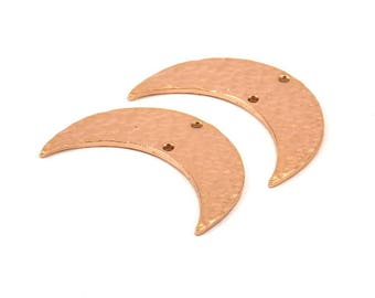 Rose Gold Hammered Crescent Finding, 2 Rose Gold Plated Brass Hammered Moons with 2 Holes (35x11x1.5mm) N211 Q073