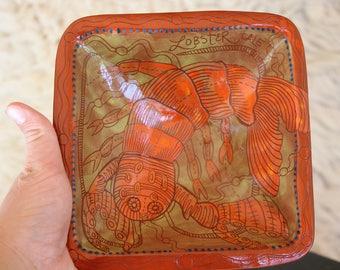 Lobster handpainted ceramic bowl, sgraffito carved