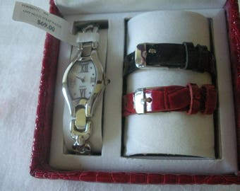 Coldwater Creek Watch SET Silver Bracelet Band - Red & Black Genuine Leather Bands in CASE
