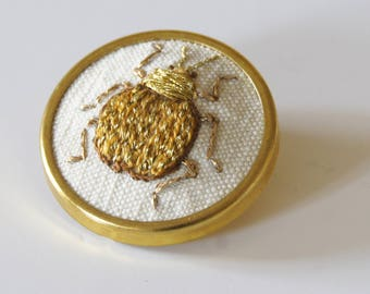 Hand Embroidered Golden Leaf Beetle Brooch Entomology Natural History Wildlife Jewelry Coleoptera Insect Nature Lover Giftry