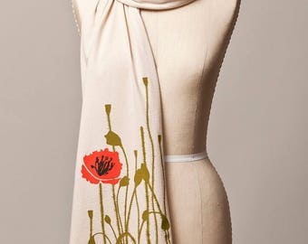 SUMMER SALE poppy scarf, red poppy, cream scarf, neutral scarf, long soft scarf