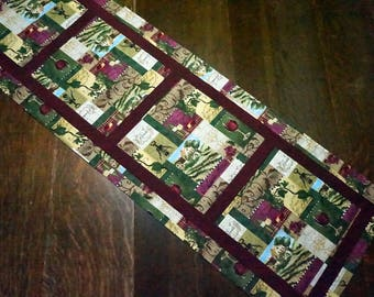 Wine Table Runner Reverses to Georgeous Poinsettia's for Christmas