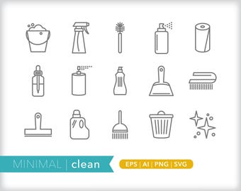 Minimal clean line icons | EPS AI PNG | Geometric Home Clipart Design Elements Digital Download