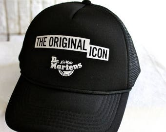 FLASH SALE Dr Martens Air Wave BLACK Original Icon Retro Trucker Hat Baseball Cap Hard To Find Rare | One Size | Punk Grunge Rock N Roll