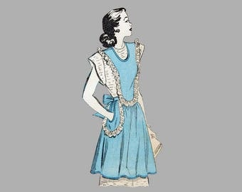 1947 Apron pattern, Advance 4731 One size Full apron and Half apron Scallops and ruffles Round or square neck 3 different views Complete
