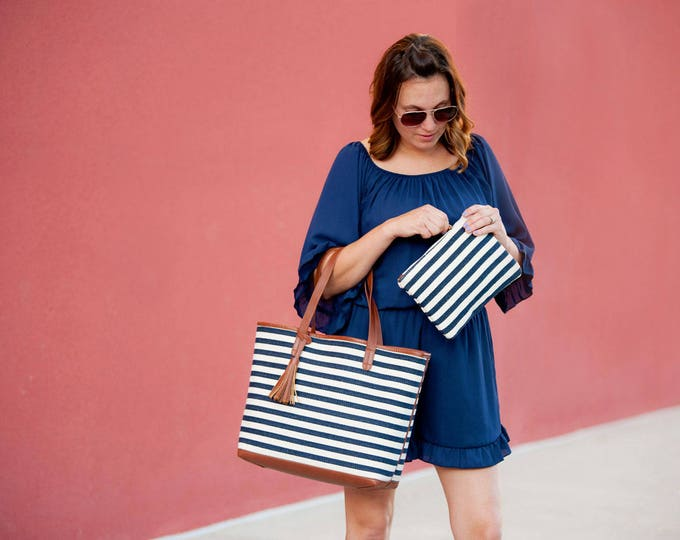 navy striped purse handbag luggage travel accessories navy tote pocketbook blue tassel gift idea for her BeachHouseDreamsHomeOBX Outer Banks