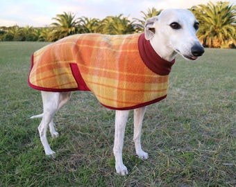checks in rust and yellow...winter coat for a whippet in vintage wool blanket and polar fleece