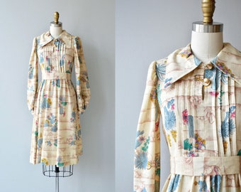 Desert Friends dress   vintage 1960s dress   novelty print 60s dress