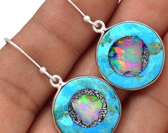 Sleeping Beauty Turquoise with Ethiopian Opal Chips in Matrix Inlay in Sterling Silver Round Dangle Earrings