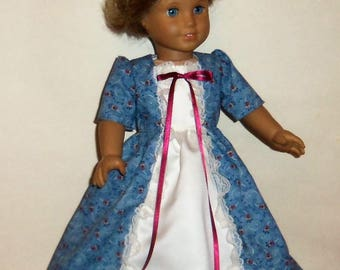 Long Princess Dress, Historical Dress, 18 Inch Doll, American Made, Girl Doll Clothing, Doll Costume, Colonial Party Dress, Doll Apparel