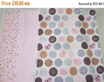 SALE Burp Cloth Dots Baby Tossed Dots Pink Grey Flannel Terry Cloth Set of 3 XL
