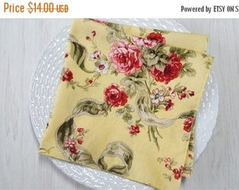 SALE Cloth Napkins Floral Red Pink on Yellow Set of 4