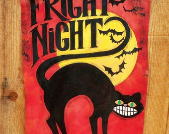 Painted Just for You-FRIGHT NIGHT....vintage style painted banner for Halloween...bright and colorful