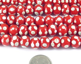 "17"" Round Glass Lampwork Christmas Beads-RED + IVORY DOTS 9mm (58)"