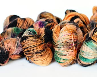 Hocus Pocus 438 yards on 'Primo' Sock Yarn/ 4 ply merino, hand painted sprinkle