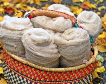 4 oz Rustic Spinners Batts Wool-Merino // Merino + Romney Cross Batt // Wool Carded Batt for spinning or felting