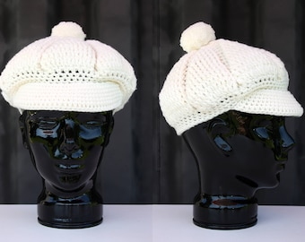 70's Retro Cream Colored Yarn Woven Wool Beret Vintage Woman's Hat with Pom Pom