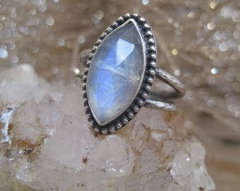 Blue Flash Moonstone Ring, Statement Ring, Double Band Ring, Gift for Her, Cocktail Ring, Marquise Shape, Rainbow Moonstone