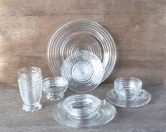 Anchor Hocking 'Manhattan' - Jazz Age Art Deco Dinnerware, Intimate Set for 2, Crystal Clear Ribbed Depression Glass