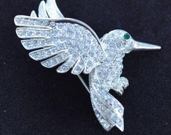 Rhinestone Hummingbird Brooch, Pin, Silver tone (AF15)