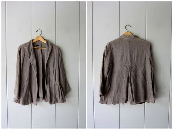 Minimal Woven Linen Cotton Jacket 90s Eileen Fisher Open Jacket Taupe Brown Blazer Modern Slouchy Jacket Long Sleeve Vintage Small Medium