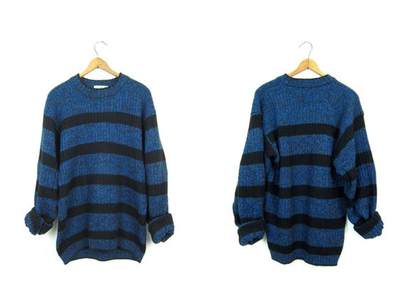 Slouchy 80s Sweater Chunky Marled Blue Black Boyfriend Sweater Cosby Retro 1980s Pullover Striped Vintage Mens Small Medium
