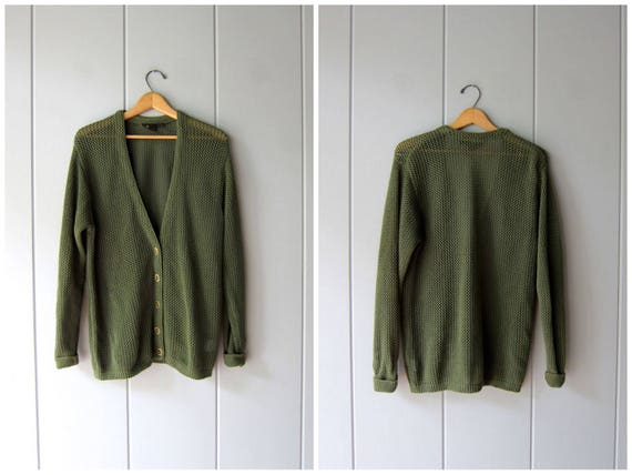 Loose Knit Army Green Cardigan Sweater 90s SHEER Vintage Crochet Sweater Slouchy Minimal Sweater Basic Cotton Knit Sweater DES Womens Medium