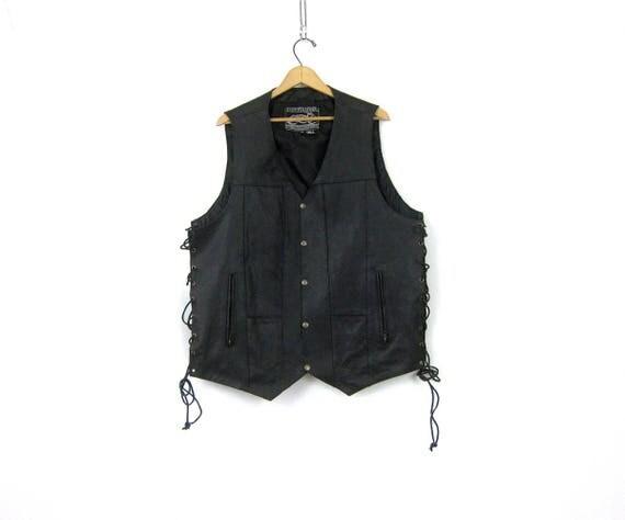 Vintage Black leather Vest Lace Up Tie Sides Biker vest Motorcycle Vest Black Vest Coat Men's Size 2XL