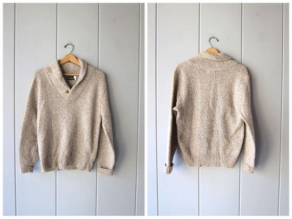 80s Marled Wool Sweater Oatmeal Cream Wool Pullover Crewneck Preppy Fall Sweater Outdoor Farm Rugged Sweater Natural Wool Women Medium Large