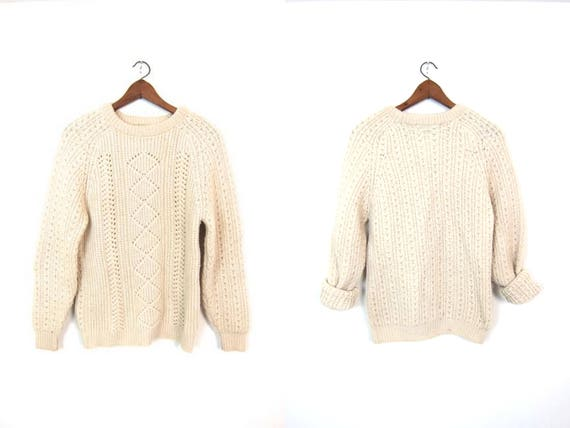 Vintage Natural Wool Sweater Chunky Fishermans Sweater Hand Loomed Cream Knit Pullover White Wool Fishermen Sweater Womens Medium Large