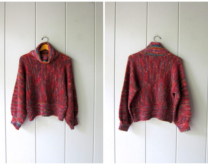 80s Nubby Knit Sweater Dolman Sleeves Rainbow Cropped Turtleneck Sweater Slouchy Sweater Crop Knit Boho Hippie Pullover Womens Small Medium