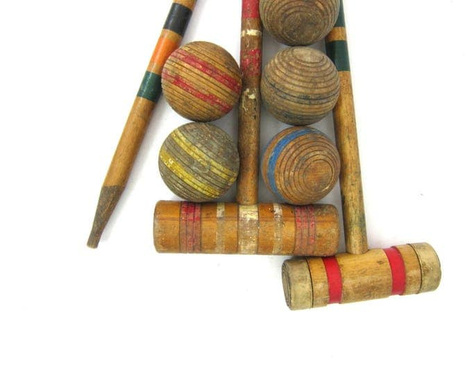 Vintage Distressed Croquet mallet and Balls Old Weathered Game Cottage Chic Cabin Decor