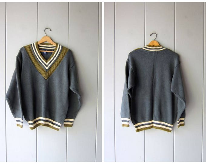 90s Vneck Sweater Green Varsity Preppy GAP V Neck Sweater College Prep Sweater Boyfriend Sweater School Girl Pullover Cotton Mens Medium