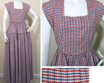 1940s Vintage Red White and Blue Plaid Taffeta Party Dress SZ XS
