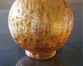 YAVA Glass - Recycled Amber Crackled Glass Globe Lamp Shade