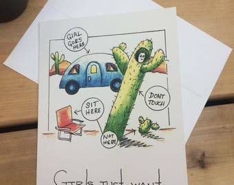 Girls Just Want to Have Fun Card-Cactus Version