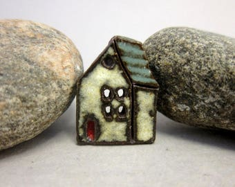 Rustic Ceramic House Button...The Witch Cottage...Turquoise Green Roof