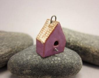 BirdHouse Pendant...Purple Walls / Eggshell Roof