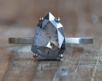Natural Geometric Grey Salt + Pepper Diamond Ring