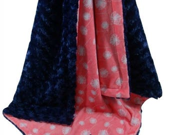 SALE Coral Dandelion and Navy Swirl Minky Baby Blanket, Navy and Coral Baby Blanket, available in three sizesCan Be Personalized
