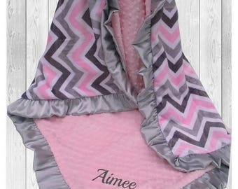SALE Pink and Gray Chevron Minky Baby Blanket, Gray and Pink Chevron Minky Blanket, Satin Ruffle Minky Blanket,Can Be Personalized