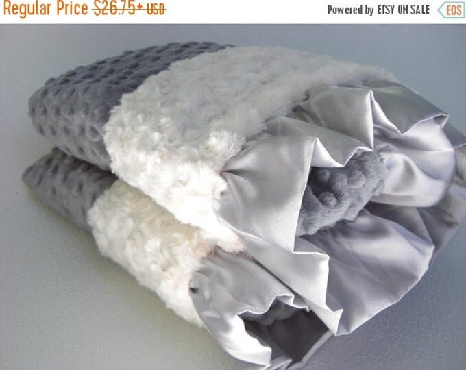 SALE Charcoal Gray and Cream Minky Baby Blanket, 3 Sizes Can Be Personalized