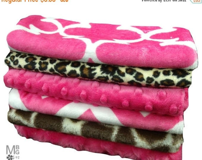 SALE Pink and Brown Baby Burp Cloths, Minky Layette Accessories, Pink and Brown Burpee Rags