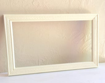 Pale Yellow Painted Wooden Picture Frame 6x11 Inches Wall Hanging