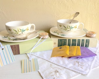 Tea Lover Book Lover Gift Box Matching Tea Cups and Saucers 2 Vintage Books Tea Bags Candle Bookmarks Silver Plated Spoons Cloth Napkins