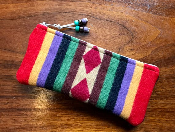 Wool Sunglasses Case / Glasses  Case / Tampon Case / Zippered Pouch Red Rim Rock